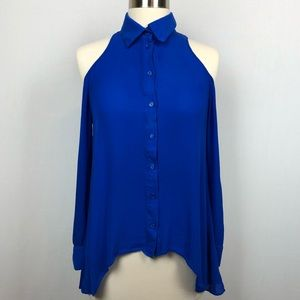 Parker cold shoulder long sleeve blue silk top XS